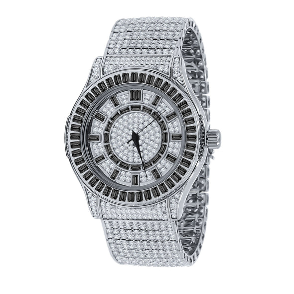 FLOODED BLACK BAGUETTE STONE WATCH IN WHITE GOLD