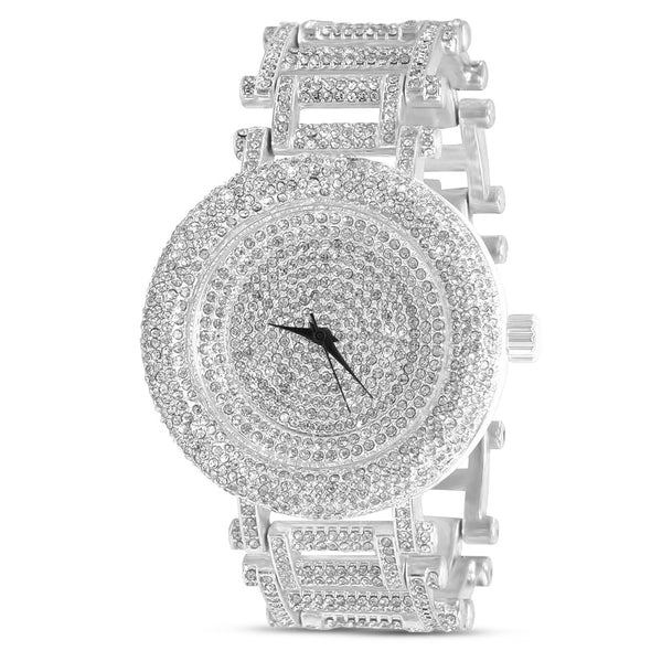 MICRO STONE ICED OUT WATCH IN WHITE GOLD
