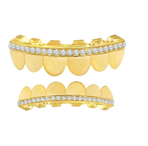 SINGLE DIAMOND ROW GRILL IN YELLOW GOLD