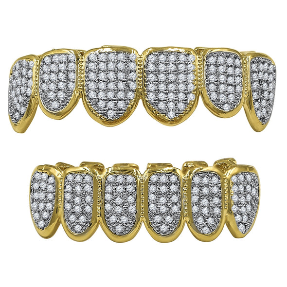 OG ICED FANG GRILLZ IN YELLOW GOLD