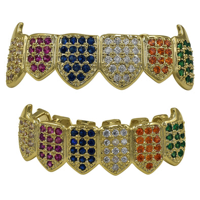 ICED RAINBOW COLOR DIAMOND GRILLZ IN YELLOW GOLD