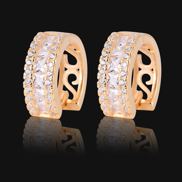 BAGUETTE X ROUND CUT DIAMOND HOOP EARRINGS
