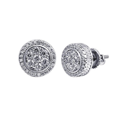ICED OUT CIRCLE EARRINGS IN WHITE GOLD
