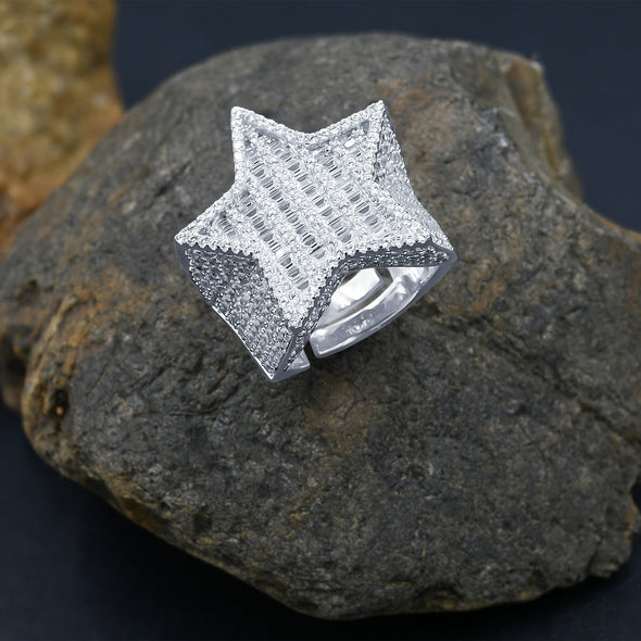 ICED OUT BAGUETTE FLOODED STAR RING