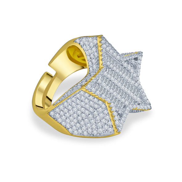 ICED OUT BAGUETTE FLOODED STAR RING IN YELLOW GOLD
