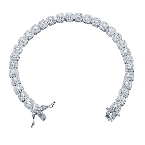 5MM SQUARE CUT CLUSTER TENNIS BRACELET
