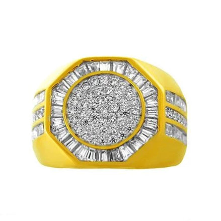 ICED BAGUETTE RING YELLOW GOLD