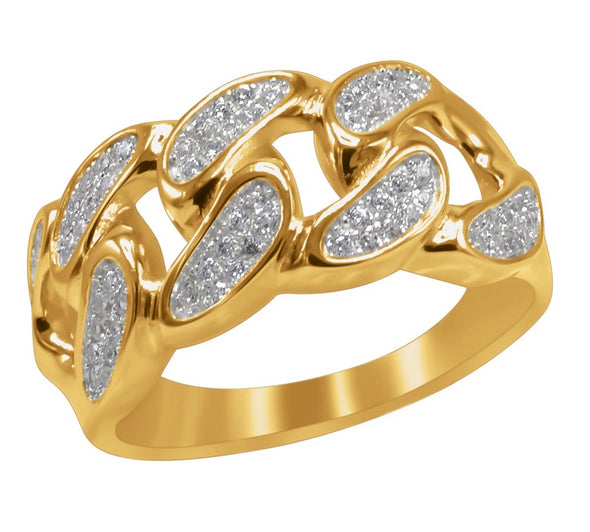 ICED CUBAN RING IN YELLOW GOLD