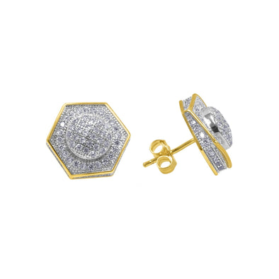 FLOODED DIAMOND HEXAGON EARRINGS IN YELLOW GOLD