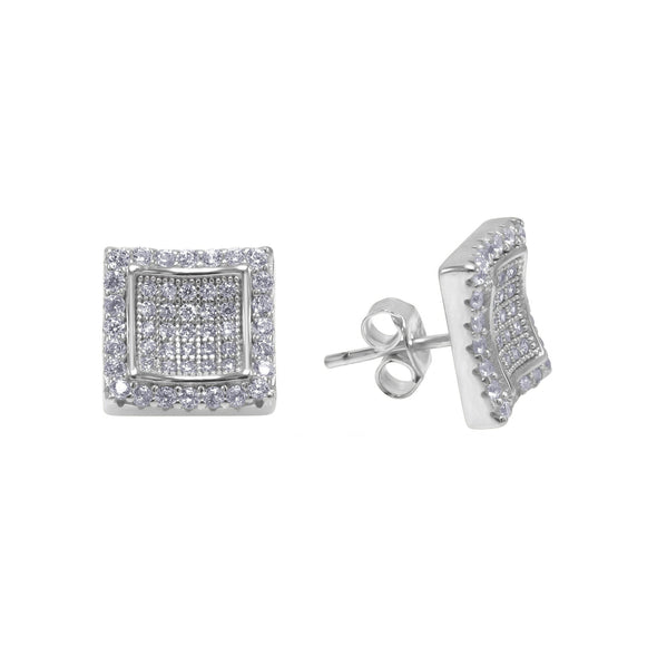 ICED CURVY CUT SQUARE EARRINGS