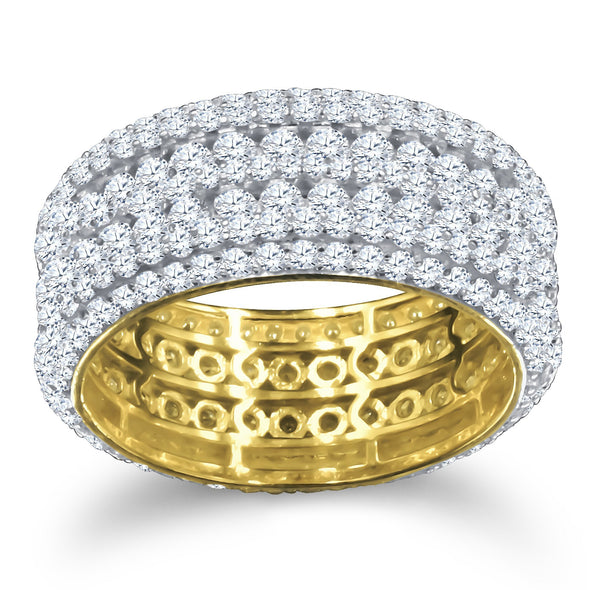 ICED OUT BAND RING IN YELLOW GOLD