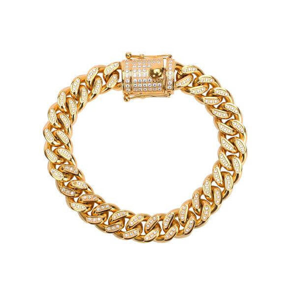 12MM GOLD ICED CUBAN BRACELET