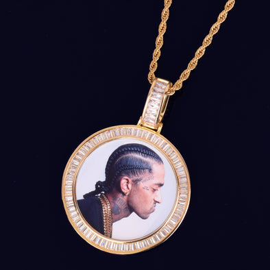 ICED BAGUETTE CUSTOM PHOTO MEDALLION PENDANT + NECKLACE