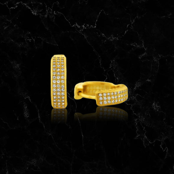 ICED OUT THREE ROW // YELLOW GOLD EARRINGS