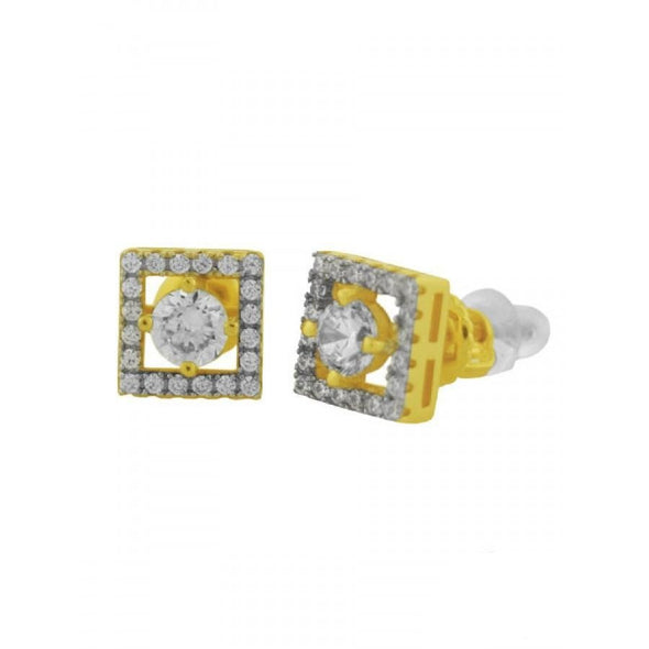 CENTER STAGE SQUARE ICED YELLOW GOLD EARRINGS