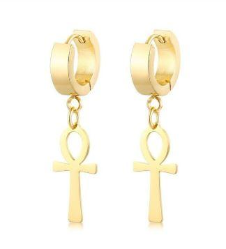 OG ESSENTIAL ANKH CROSS HOOP EARNINGS