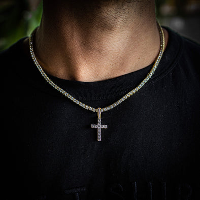 MICRO ICED OUT CROSS + TENNIS CHAIN SET