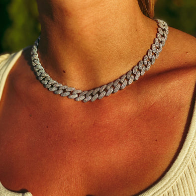 12MM ICED MIAMI CUBAN CHOKER IN WHITE GOLD