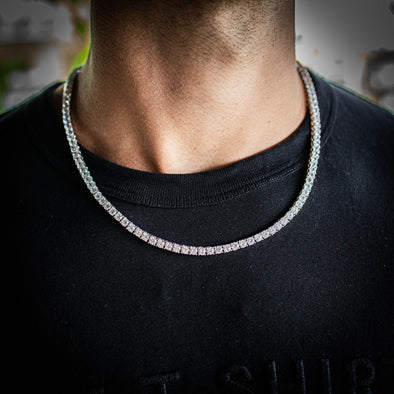4MM ROUND CUT TENNIS CHAIN IN WHITE GOLD