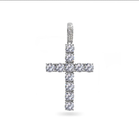4MM ROUND CUT TENNIS CROSS IN WHITE GOLD