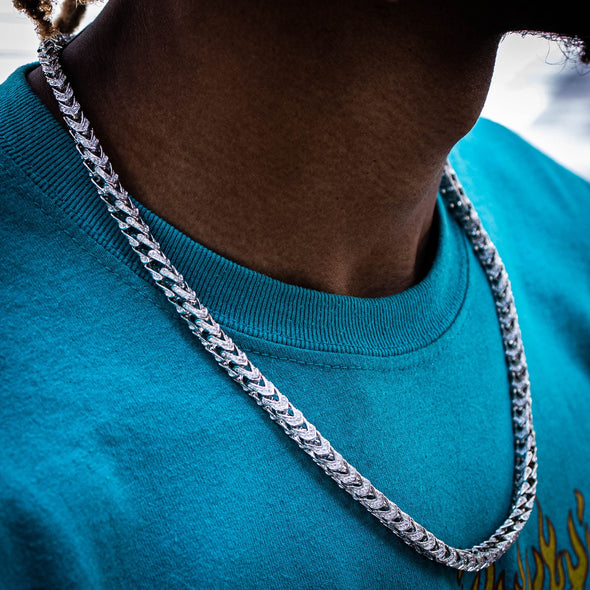 7MM ICED FRANCO CHAIN IN WHITE GOLD [PURE 925 SILVER]