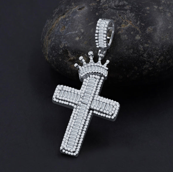 ICED ROYAL BLESSINGS CROSS PENDANT IN WHITE GOLD