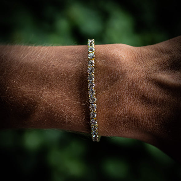 4MM ROUND CUT TENNIS BRACELET IN YELLOW GOLD