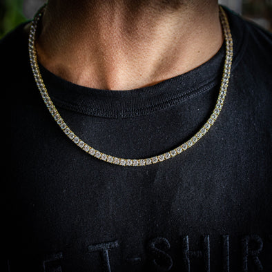 4MM ROUND CUT TENNIS CHAIN IN YELLOW GOLD