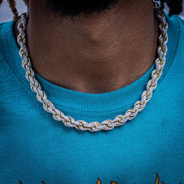9MM ICED ROPE CHAIN IN YELLOW GOLD