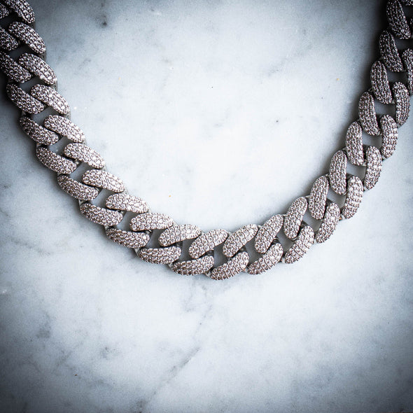 18MM ICED MIAMI CUBAN CHAIN IN WHITE GOLD