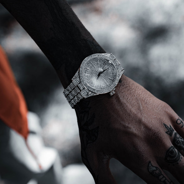 DIMEKEEPER ICED WATCH IN WHITE GOLD