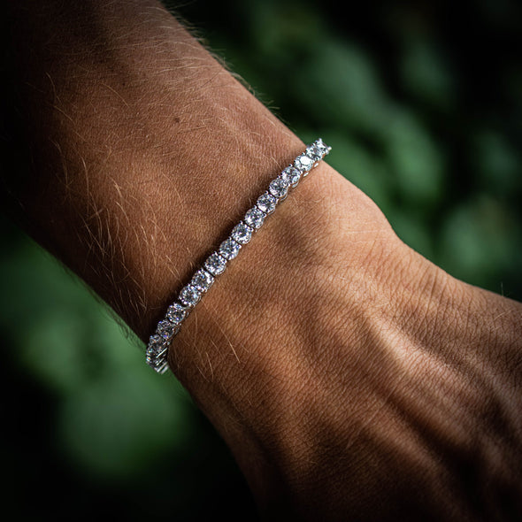 4MM ROUND CUT TENNIS BRACELET IN WHITE GOLD