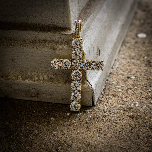 ICED OUT CROSS + TENNIS CHAIN SET