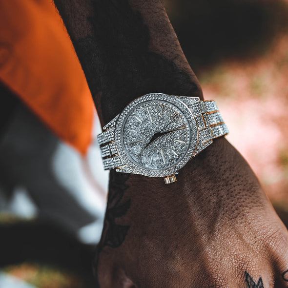ICED OUT DIZZLE WATCH IN YELLOW GOLD