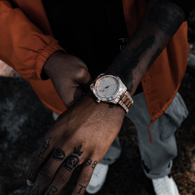 DIMEKEEPER ICED WATCH IN ROSE GOLD