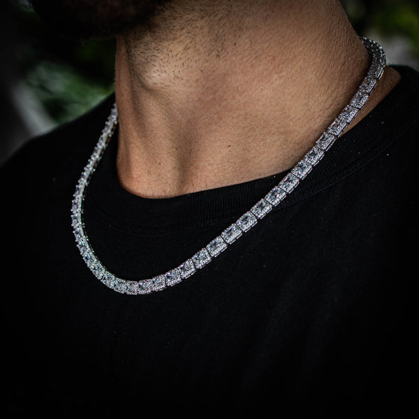 6MM RECT CUT BAGUETTE TENNIS CHAIN IN WHITE GOLD