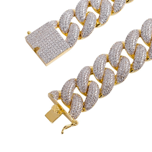 BIG D(OG) 25MM ICED MIAMI CUBAN CHAIN IN YELLOW GOLD