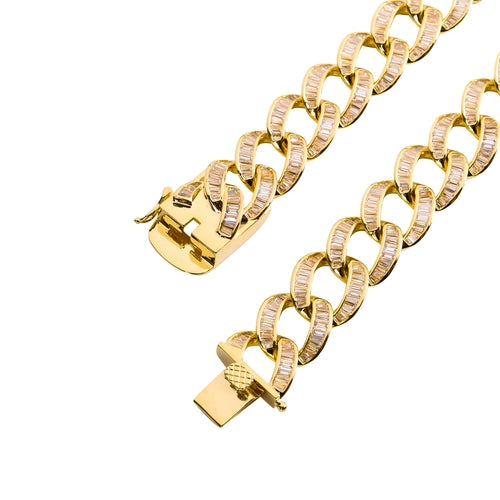 15MM FLOODED BAGUETTE ONLY CUBAN IN YELLOW GOLD