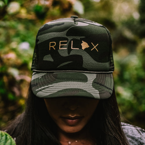 Relax Big Island Camo Trucker Hat