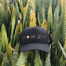 Load image into Gallery viewer, Howzit Big Island Black Trucker Hat