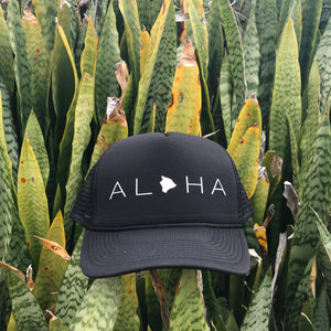 Aloha Big Island Black Trucker Hat