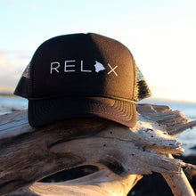 Load image into Gallery viewer, Relax Big Island Black Trucker Hat