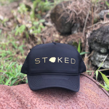 Load image into Gallery viewer, Stoked Kauai Black Trucker Hat