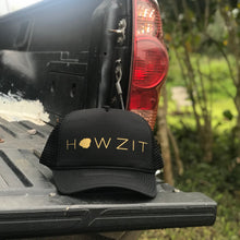 Load image into Gallery viewer, Howzit Kauai Black Trucker Hat
