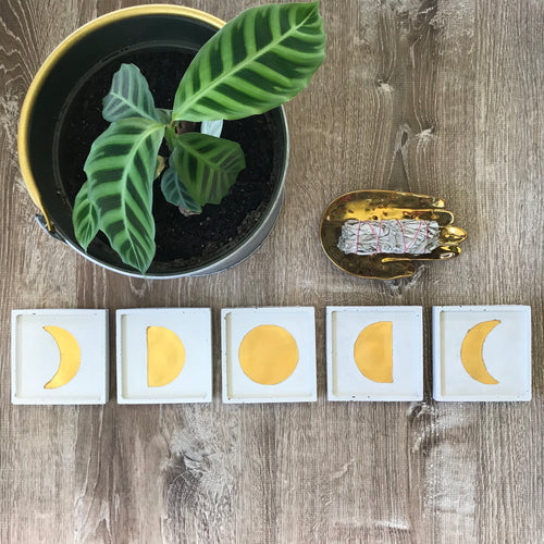 Moon Phase Coaster Set