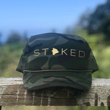 Load image into Gallery viewer, Stoked Big Island Camo Trucker Hat