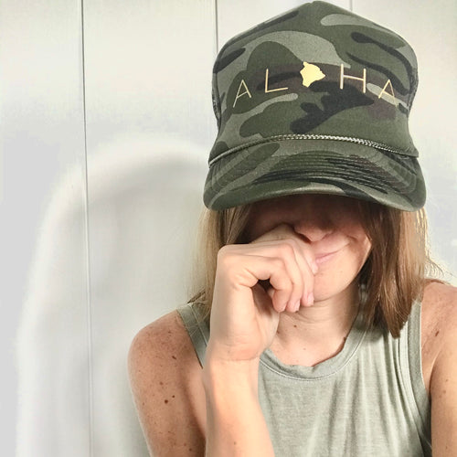 Aloha Big Island Camo Trucker Hat
