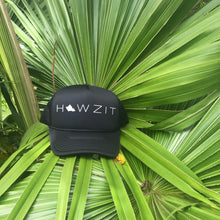 Load image into Gallery viewer, Howzit Oahu Black Trucker Hat