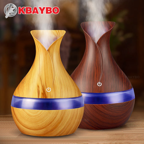 300ml Electric Aroma Essential Oil Diffuser Ultrasonic Air Humidifier Wood Grain LED Lights