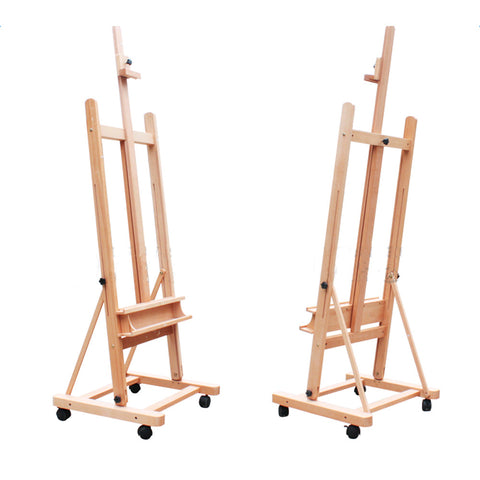 DHJ-02 360-Degree Spinner Wheel Red Beech Wood Rolling Easel Wood Color